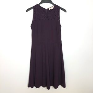 Loft A Line Fit Flare Sleeveless Embroidered Dress